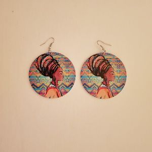 Jewelry - Colorful Round Wood Afrocentric Dangling Earrings